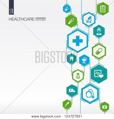 Hexagon abstract. Medicine background with lines, polygons, and integrate flat icons. Infographic concept with medical, health, healthcare, DNA connected symbols. Vector illustration.