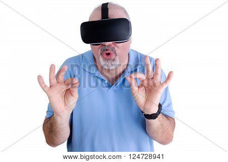 Man On White Wearing Virtual Reality Glasses