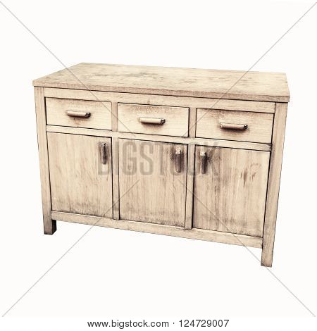 Old Wooden Chest Of Drawers Isolated On White