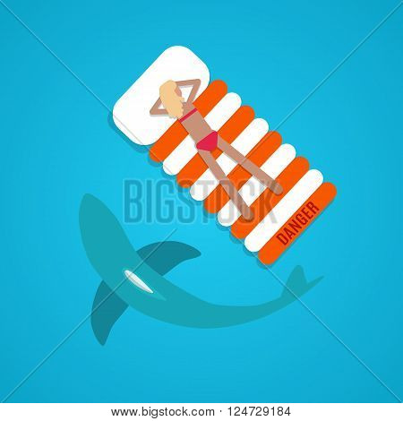 Illustration tanned girl in the ocean with a shark. Vector flat design.