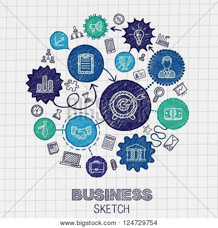 Business hand drawing integrated sketch icons. Vector doodle marketing pictogram set. Connected concept illustration on paper, finance, money, presentation, strategy, marketing, analytics, infographic