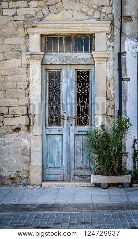Old door with vintage decorative lattice in Cyprus ** Note: Soft Focus at 100%, best at smaller sizes