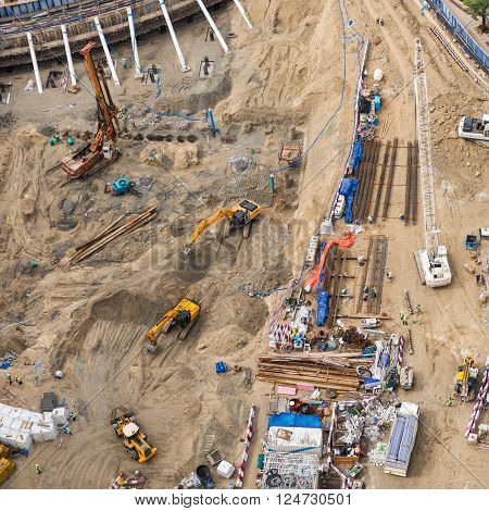 Photo of a construction work from above. Drone shot.