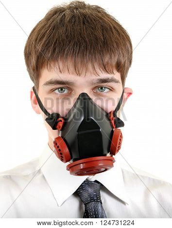 Teenager in Gas Mask Isolated on the White Background