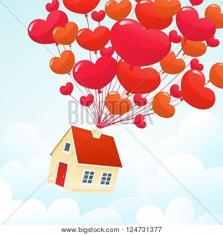 Love house flying on heart balloons Valentine's card background vector
