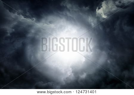 White Hole in the Dark Storm Clouds