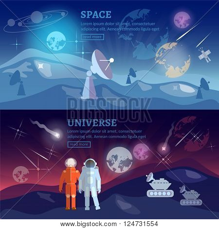 Astronauts space program banner research and space exploration