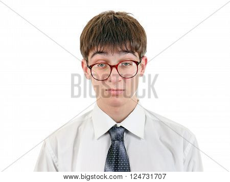 Confused Teenager in the Glasses Isolated on the White Background