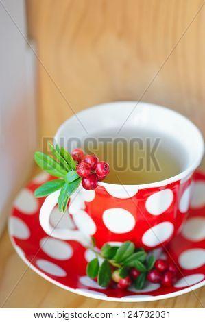 Close up Cowberry (Vaccinium vitis idaea) tea