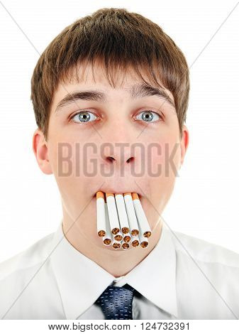 Teenager with Cigarettes in his Mouth Isolated on the White Background