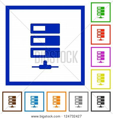 Set of color square framed Data network flat icons on white background
