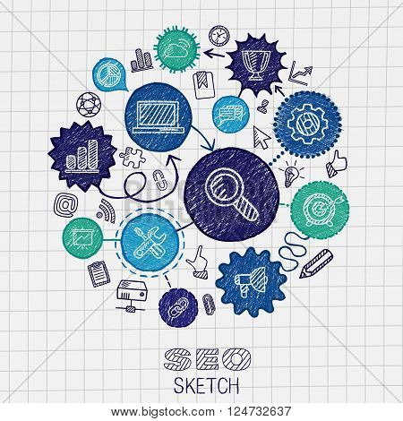 SEO hand drawing integrated sketch icons. Vector doodle marketing pictogram set. Connected infographic illustration on paper. network, business, connect, analytics, social media and market concepts