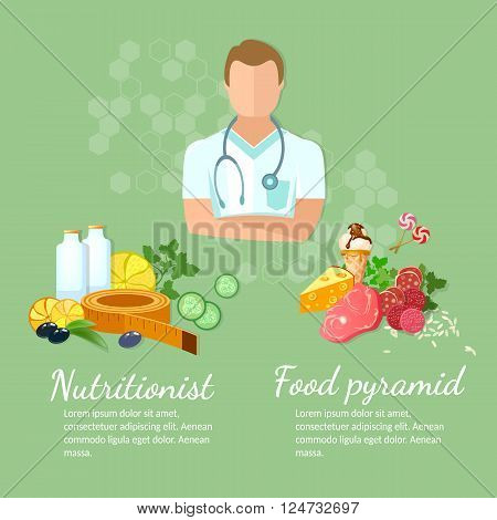 Nutritionist diet and healthy eating vector illustration