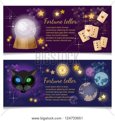 Astrology and alchemy banners magic ball fortune telling