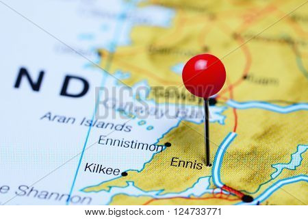 Ennis pinned on a map of Ireland