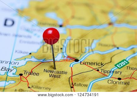 Newcastle West pinned on a map of Ireland ** Note: Shallow depth of field