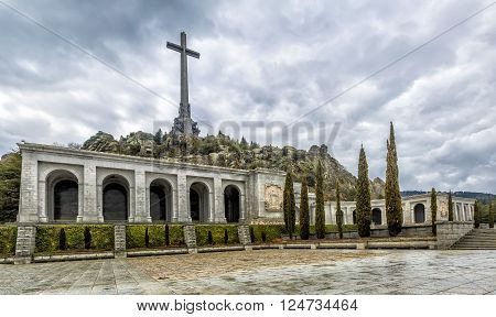 Facade of the main building Valley of the Fallen (Valle de los Caidos) Madrid Spain