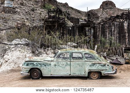 NELSON USA - JUNE 10 : Old rusty car in Nelson Nevada ghost town on June 10 2015