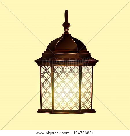 Retro vintage lamp post with electricity lantern isolated vector illustration