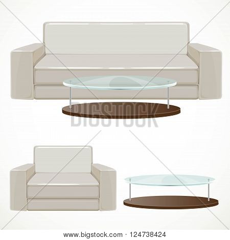 Sofa and armchair upholstered with light beige and coffee table with glass top vector illustration isolated on white background