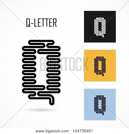 Creative Q- letter icon abstract logo design vector template.Creative Q- alphabet vector design.Business and education creative logotype symbol.Vector illustration