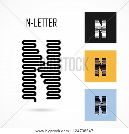 Creative N- letter icon abstract logo design vector template.Creative N- alphabet vector design.Business and education creative logotype symbol.Vector illustration