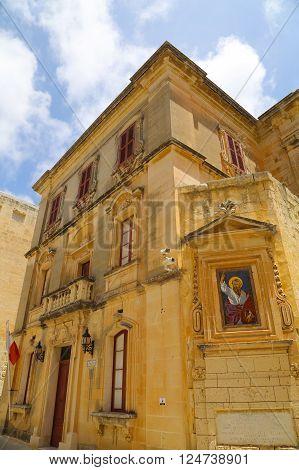 Historic Architecture in Mdina Malta southern Europe.