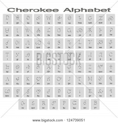Set of monochrome icons with cherokee alphabet for your design