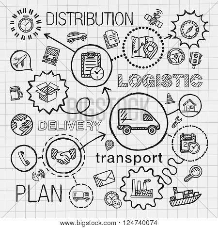 Logistic hand draw integrated icons set. Vector sketch infographic illustration with line connected doodle hatch pictograms on paper. distribution, shipping, transport, services, container concepts
