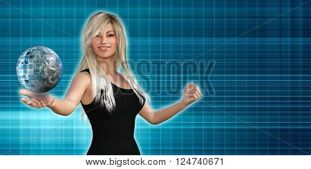 Woman Presenting a Business Technology Solution Presentation Background 3D Illustration