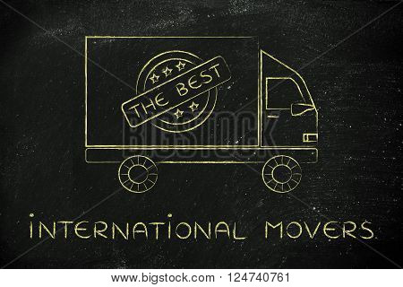 international movers: moving company's truck with five stars and The Best sign