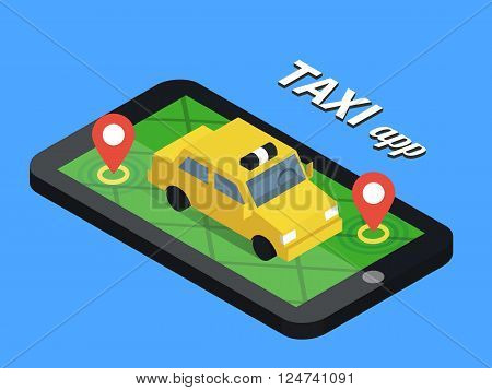 Public taxi online service, mobile application. Navigation map with yellow taxi on smartphone. Flat vector app illustration.