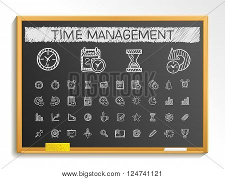 Time management hand drawing line icons. Vector doodle pictogram set. chalk sketch sign illustration on blackboard with hatch symbols, schedule, alarm, event, calendar graphic, plan, date and bell.