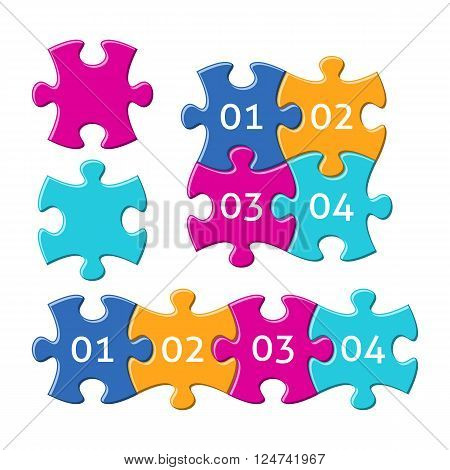 Vector jigsaw puzzle pieces with numbers four colors