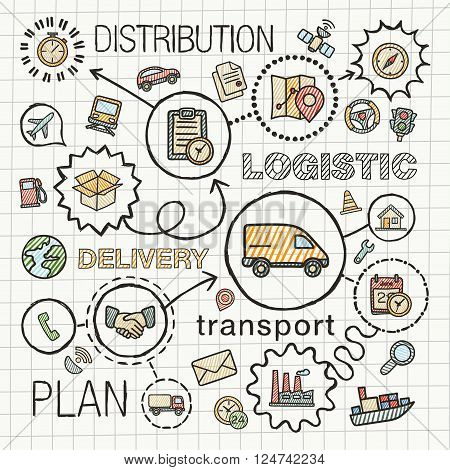 Logistic hand draw integrated icons set. Vector sketch infographic illustration with line connected doodle hatch pictograms on paper, distribution, shipping, transport, services, container concepts