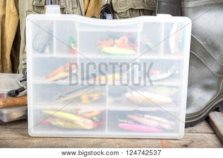 Fishing Baits In Blure Storage Box