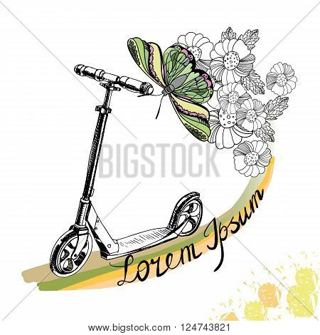 Vector illustration of hand drawn Kick scooter, butterfly and flowers with text on white background. Spring elements for design.