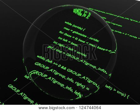 Green glowing computer code magnified in center by glass disk.