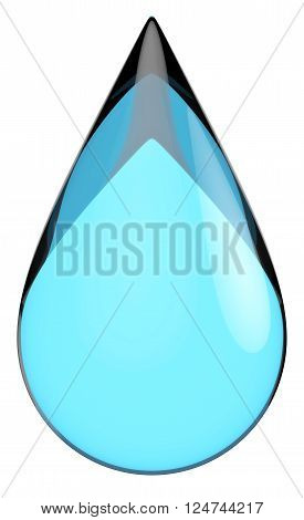 Glossy patterned blue teardrop isolated on a white background.