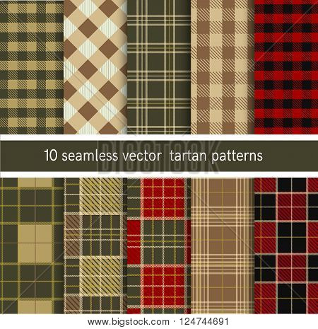 Tartan seamless plaid pattern collection. Vector backgrounds collection.