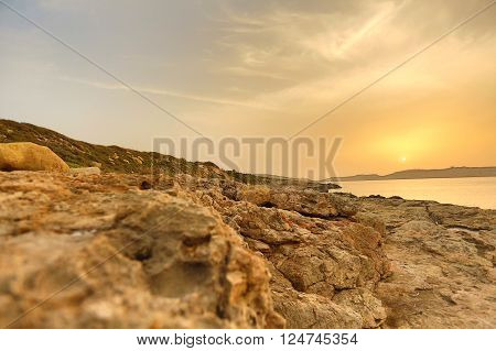 HDR photo of a Sunset in Bugibba in Malta Europe. ** Note: Soft Focus at 100%, best at smaller sizes