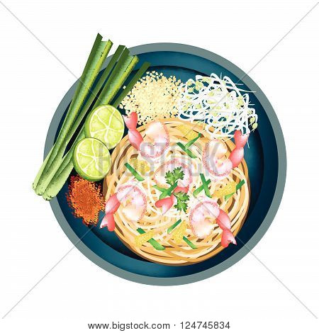 Thai Cuisine Pad Thai or Thai Stir Fried Noodles with Shrimps. One of The Most Popular Dish in Thailand.