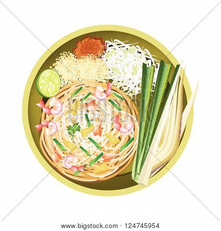 Thai Cuisine Pad Thai or Thai Traditional Stir Fried Noodles with Shrimps. One of The Most Popular Dish in Thailand.
