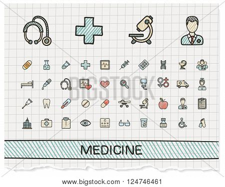 Medical hand drawing line icons. Vector doodle pictogram set. color pen sketch sign illustration on paper with hatch symbols, hospital, emergency, doctor, nurse, pharmacy, medicine, health care.