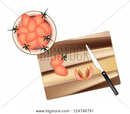 Vegetable, Illustration of Delicious Juicy Red Ripe Grape Tomatoes on Wooden Cutting Board with Knife.