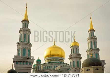Moscow Cathedral Mosque Russia. The main mosque in Moscow one of the largest and highest mosque in Russia and in Europe. Religious landmark. ** Note: Visible grain at 100%, best at smaller sizes