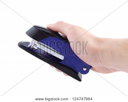 Hand holding blue stapler isolated clipping path