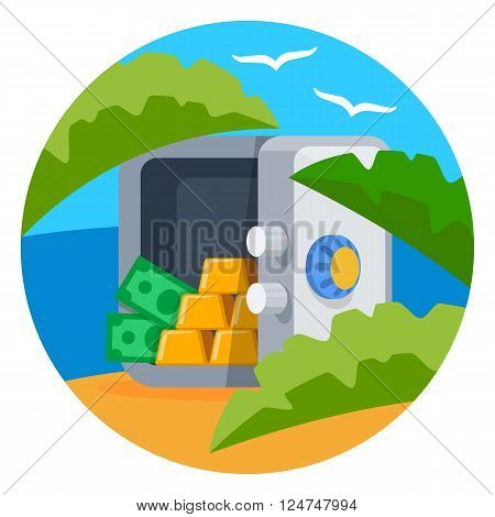 Open safe with gold bars and dollar banknotes on the tropical island background, color flat vector illustration of hidden in offshore money and wealth resources