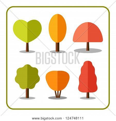 Tree icons set. Nature collection. Trendy and beautiful set of flat autumn elements isolated on white background. Include deciduous trees and shrubs. Sprites for the game. Stock vector illustration.