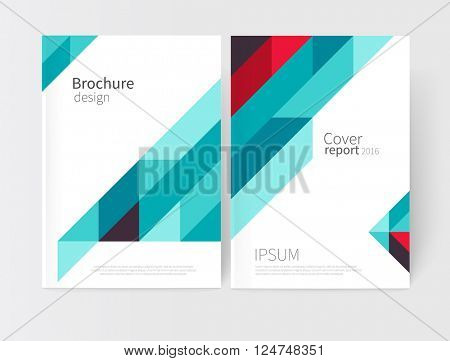 Cover design. Brochure, flyer, annual report cover template. a4 size. Geometric Absract background. blue and red diagonal lines. vector-stock illustration EPS 10